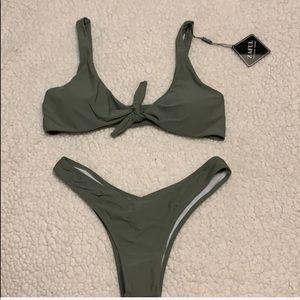 NWT Zaful olive bikini set, ties in front